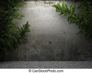 dávný, betonový hradba, a, břečťan