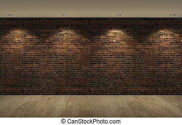 dávný, cihlový stěna, s, konkrétum podlaha