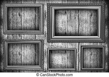 dávný, dřevěný, fotit rámce, val, čerň, white.