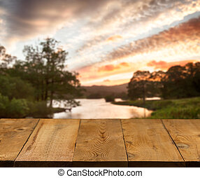 dávný, dřevěný, jezero, ochoz, deska, nebo