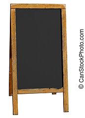 dávný, dřevěný, menu, osamocený, hostinec, deska, neobsazený, white.