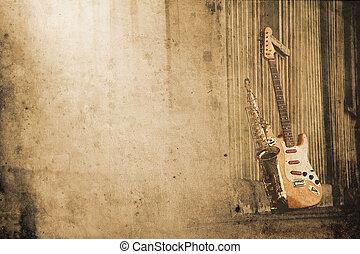 dávný, grungy, saxofon, s, elektrický kytara, do, za, hledět