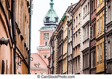dávný hlavní město, do, varšava, poland.