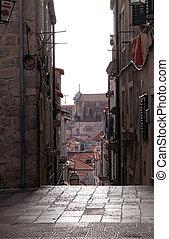 dávný hlavní město, dubrovnik, jádro, ulice, chorvatsko, omezený