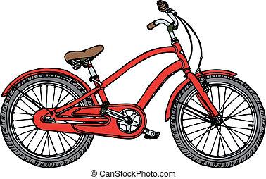 dávný jezdit na kole, -, stylizovaný, vektor, ilustrace
