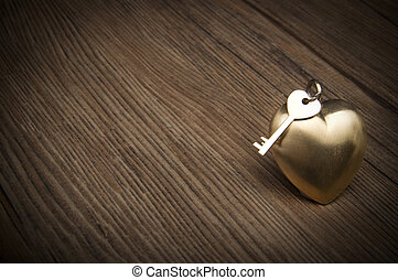 dávný, klapka, a, zlatý, heart., klapka, o, můj, nitro, concept., znejmilejší den, greetings.