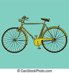 dávný, klasik, jezdit na kole, ilustrace, vektor