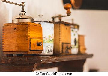 dávný, nádoba, zrnková káva, cukr, stolička, rukopis