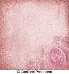 dávný, noviny, grafické pozadí, s, růže