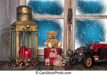 dávný, okno, nostalgický, výzdoba, toys., práh, vánoce
