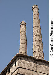 dávný, opuštěný, továrna, chimneis