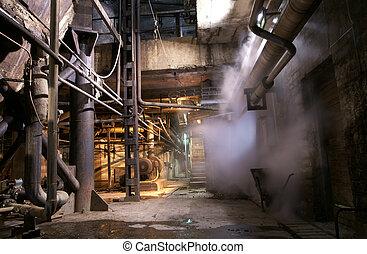 dávný, opuštěný, továrna