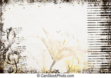 dávný pisátko, hudba, grafické pozadí