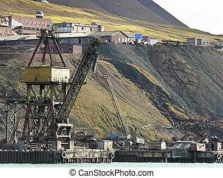 dávný, průmyslový, přístav, do, svalbard