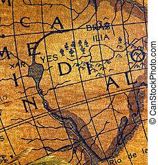 dávný, průzkum, mapa