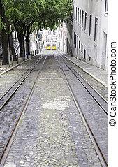 dávný, tramvaj, do, lisabon