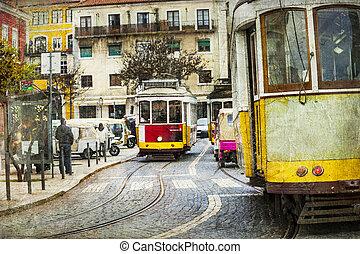 dávný, tramvaj, do, lisabon, -, za, malba