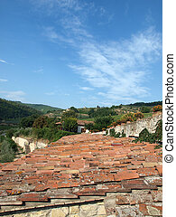dávný, vila, vinice, střecha, toskánština, lesík, mezi, oliva