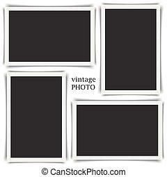 dávný, vinobraní, fotografie, vybírání, s, neobvyklý, shadows., vektor, ilustrace, eps10