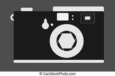 dávný, vinobraní, za, blána, kamera, s, otvor, a, buttons., temný i kdy běloba, za, kamera., vektor, illustration.