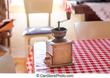 dávný, zrnková káva, manuál, stolička, dřevěný