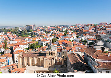 dächer, cityscape, aus, coimbra, portugal