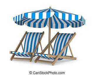 däcksstol, avbild, två, isolerat, bakgrund., vit, parasoll, ...