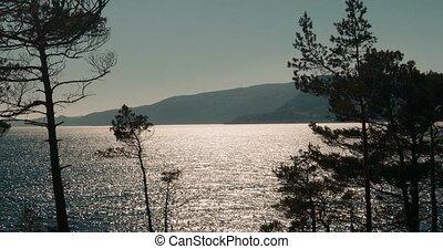 dämmern, in, norwegen, und, glitzer, auf, sognefjord, norwegen, -, cinematic, stil
