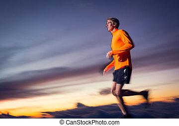dämmerung, athletische, bewegung, rennender , sonnenuntergang, verwischen, mann