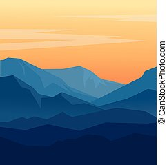 dämmerung, in, blaue berge
