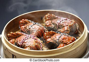 dämpfen, behaarter , shanghai, krabben