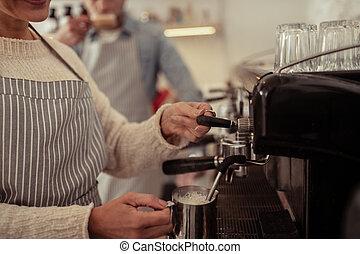 dämpfen, coffee., milch, barista, hände
