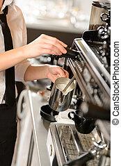 dämpfen, heiß, cappuccino, barista, milch