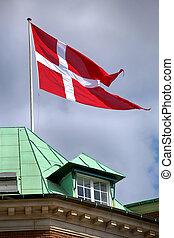 dänisch, dänemark, winkende, Fahne,  Mast, Kopenhagen