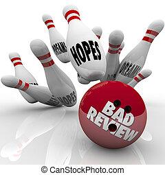 dålig, granska, miserabel föreställning, bowling kula, strike, förtröstan, drömmar