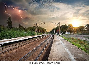 dålig uthärdar, över, järnväg