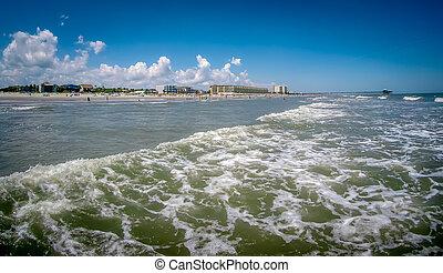 dårskap, ocean, atlanten, charleston, strand, södra carolina