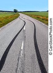 dæk, tryk, på, den, asfalter vej