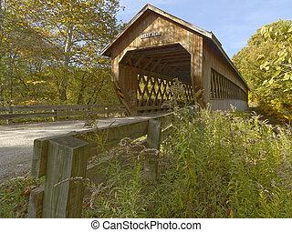dækkede broer, ind, northeast, ohio, counties., tidligere, fald, season.