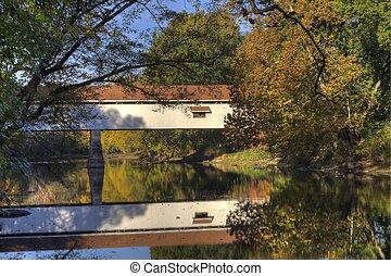 dækket bro, ind, efterår