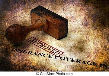 dækning forsikring, -, anerkendt, grunge, begreb