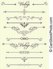 dÈcor, elementos, desenho, página,  calligraphic