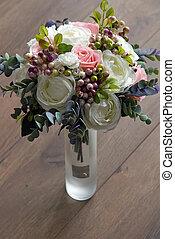 dÈcor, Mazzolino, Artificiale, vaso,  6, fiori