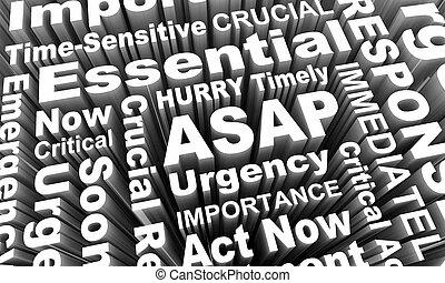 dès possible, acte, maintenant, comme, bientôt, possible, urgent, mots, 3d, render, illustration