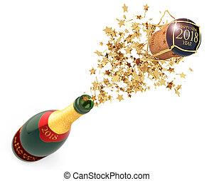 débouché, champagne, veille, nouvelle année