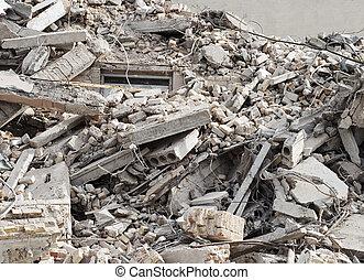 débris, construction, démolition