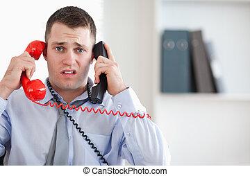 débrouiller, téléphone, haut, incapable, fin, homme affaires