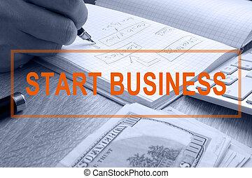 début, écriture, business., homme, note.