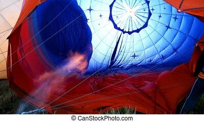 début, air chaud, haut, balloon