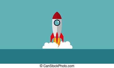 début, animation, lanceur, haut, fusée